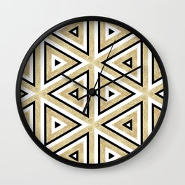 Gold Glitter and Black Geomeric Pattern Wall Clock