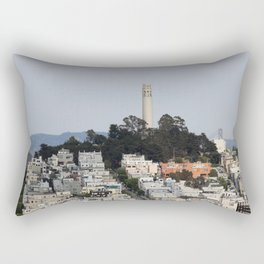 Streets Of San Francisco With Coit Tower Rectangular Pillow