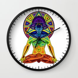 Man with Colored Chakras in Lotus Position Wall Clock