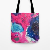 mars Tote Bags featuring Mars by Heather Plewes Art