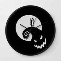 jack skellington Wall Clocks featuring Nightmare Jack Skellington by aleha