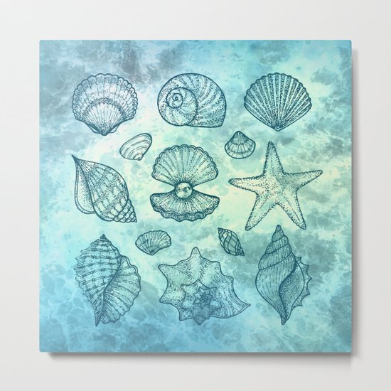 Blue Seashells Metal Print