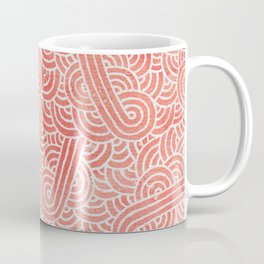 Peach echo and white swirls doodles Coffee Mug