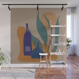 two bottles with leaves brown Wall Mural