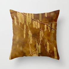 Hazel catkins Throw Pillow