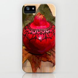 Henna Inspired Hand Painted Pomegranate  iPhone Case