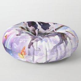 Laser Eyes Space Cow On Dinosaur Unicorn - Rainbow Floor Pillow