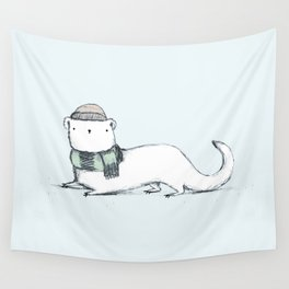 Ermine in Hat & Scarf Wall Tapestry