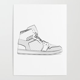 sneaker illustration pop art drawing - black and white graphic Poster