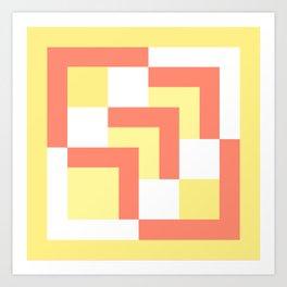 Squares Yellow + Salmon Art Print