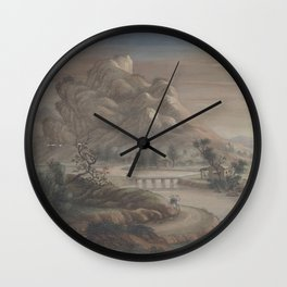 Landscape Chinese - River mountain Wall Clock
