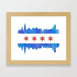 Chicago Flag Skyline Watercolor Framed Art Print