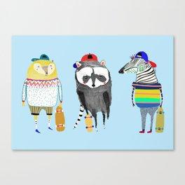The skateboarders. skateboard print - skating - animal art. Canvas Print
