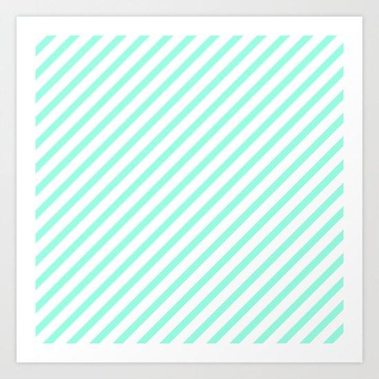 Elegant Mint & White Diagonal Stripes Art Print
