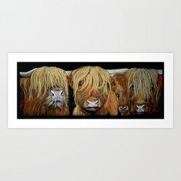 HIGHLAND COWS ' STEWART AND FRIENDS ' BY SHIRLEY MACARTHUR Art Print