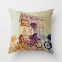 tour de france Throw Pillows featuring Tour de France by takmaj