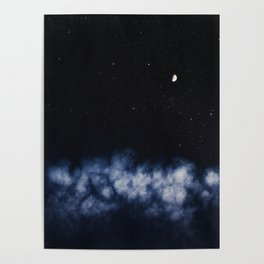 Contrail moon on a night sky Poster