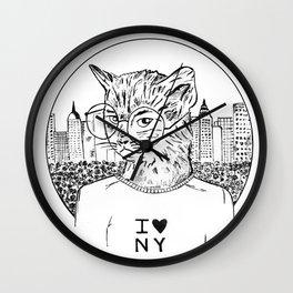 NY Cat Wall Clock