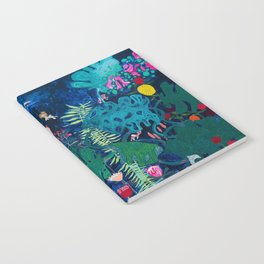 Brightly Rainbow Tropical Jungle Mural with Birds and Tiny Big Cats Notebook
