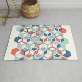 Soft Red, White & Blue Hexagon Pattern Play Rug
