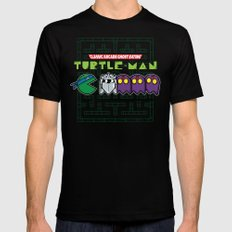 Hero in a Pac-Shell (Leo) Black Mens Fitted Tee MEDIUM