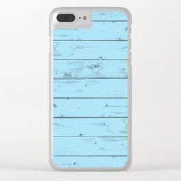 Blue Wood Texture Clear iPhone Case