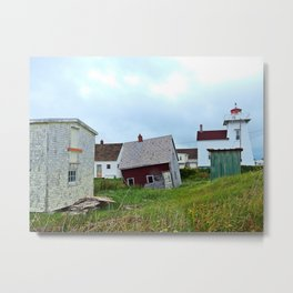 Lighthouse and shacks in North-Rustico PEI Metal Print