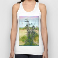Plaid Beachscape with Seagrass Unisex Tank Top