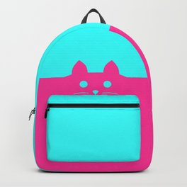 Meow Cat Pink Blue Backpack