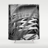 sneakers Shower Curtains featuring Sneakers by Fine2art