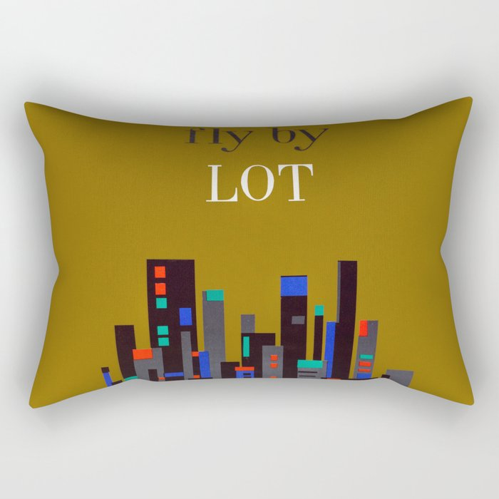 Fly By LOT - 1960s Vintage Airline Travel Poster Rectangular Pillow