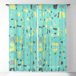 Turquoise blue, yellow and black spots, abstract galaxy texture print, color moving fragments Sheer Curtain