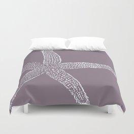Starfish- white on plum Duvet Cover