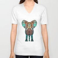 mint V-neck T-shirts featuring ElePHANT by Monika Strigel