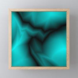 Dark lines of light blue lightning with a voluminous gap. Framed Mini Art Print