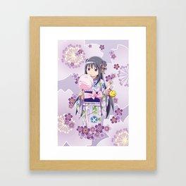 Homura Akemi (Yukata & Cherri Blossom edit) Framed Art Print