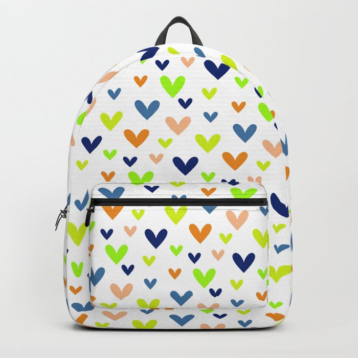 Happy Hearts on White Backpack
