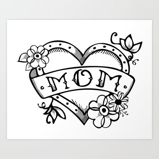 Mom tattoo Art Print