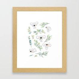 Koala and Eucalyptus Pattern Framed Art Print
