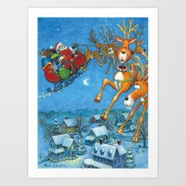 Santa circling over the little town of Bishop Hollow Art Print
