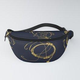 Maritime pattern- Gold fishing gear on darkblue background Fanny Pack