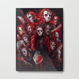Jason Voorhees Friday the 13th Many faces of Metal Print