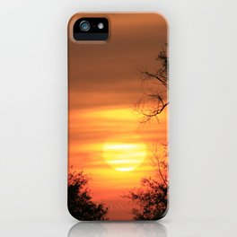 Kansas  Blazing Sunset with tree Silhouettes and clouds. iPhone Case