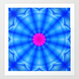 Blue spiral flower Art Print