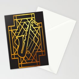 Art Deco Saxofon Stationery Cards