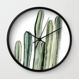 Tall Cacti Watercolor Painting Wall Clock