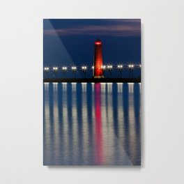 Grand Haven Pier Lighthouse and Reflections Metal Print