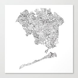 Queens - Hand Lettered Map Canvas Print