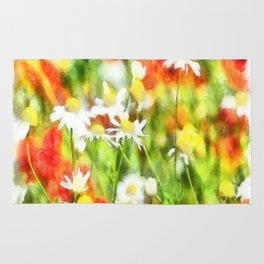 The Colors Of Spring On A Sunny Day Watercolor Rug