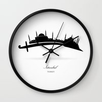 istanbul Wall Clocks featuring Istanbul by Emir Simsek